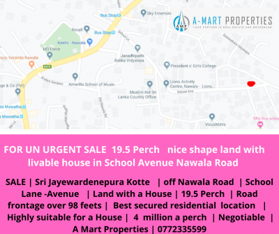 Land with house for sale in Battaramulla - 42 Perch Prime and  Unique Land in Battaramulla  junction   Facing at  Kaduwela  Road