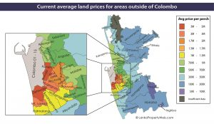 Greater Colombo land price heat map