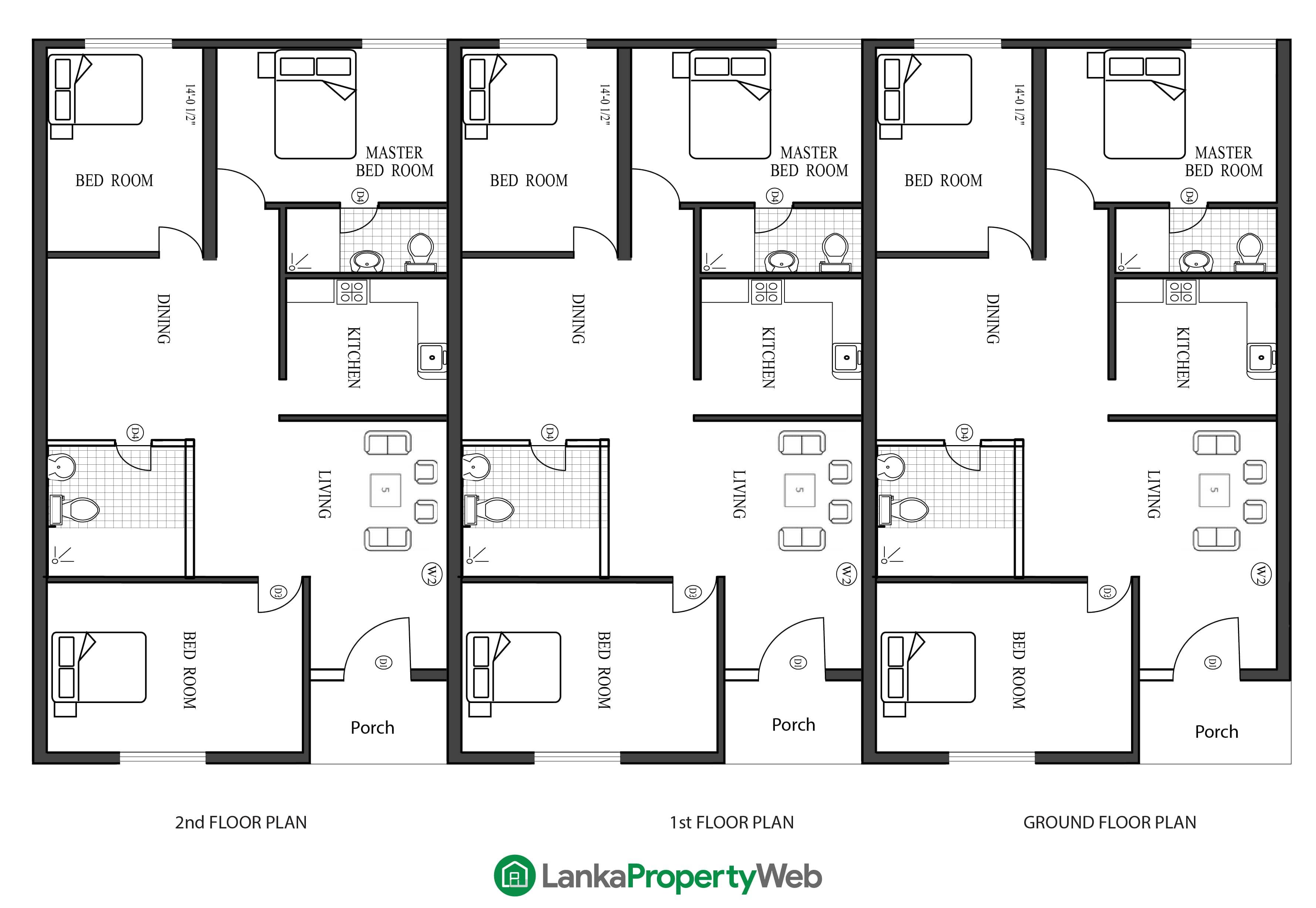 Triplex / Terraced house plan