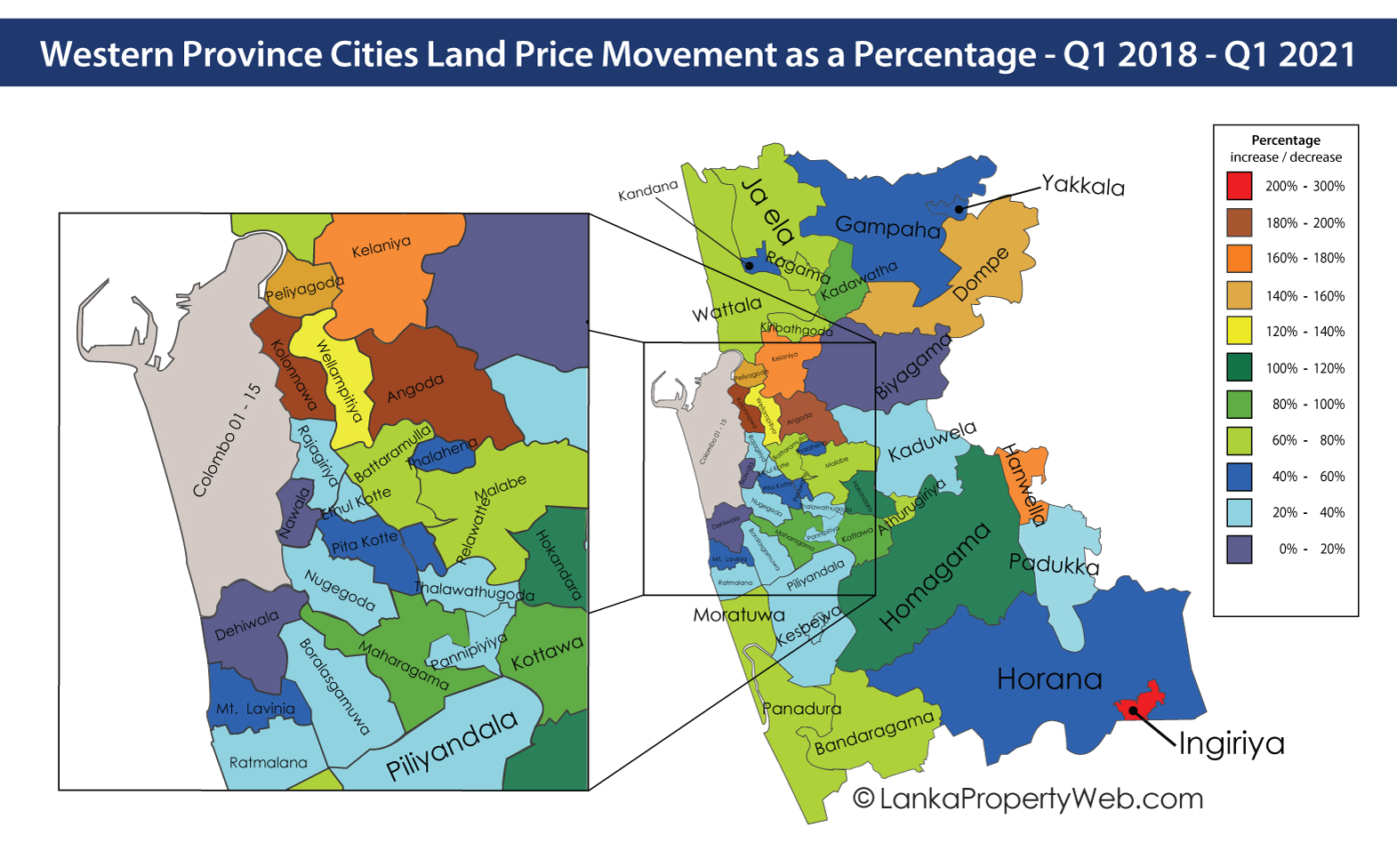 land price increases in the western province